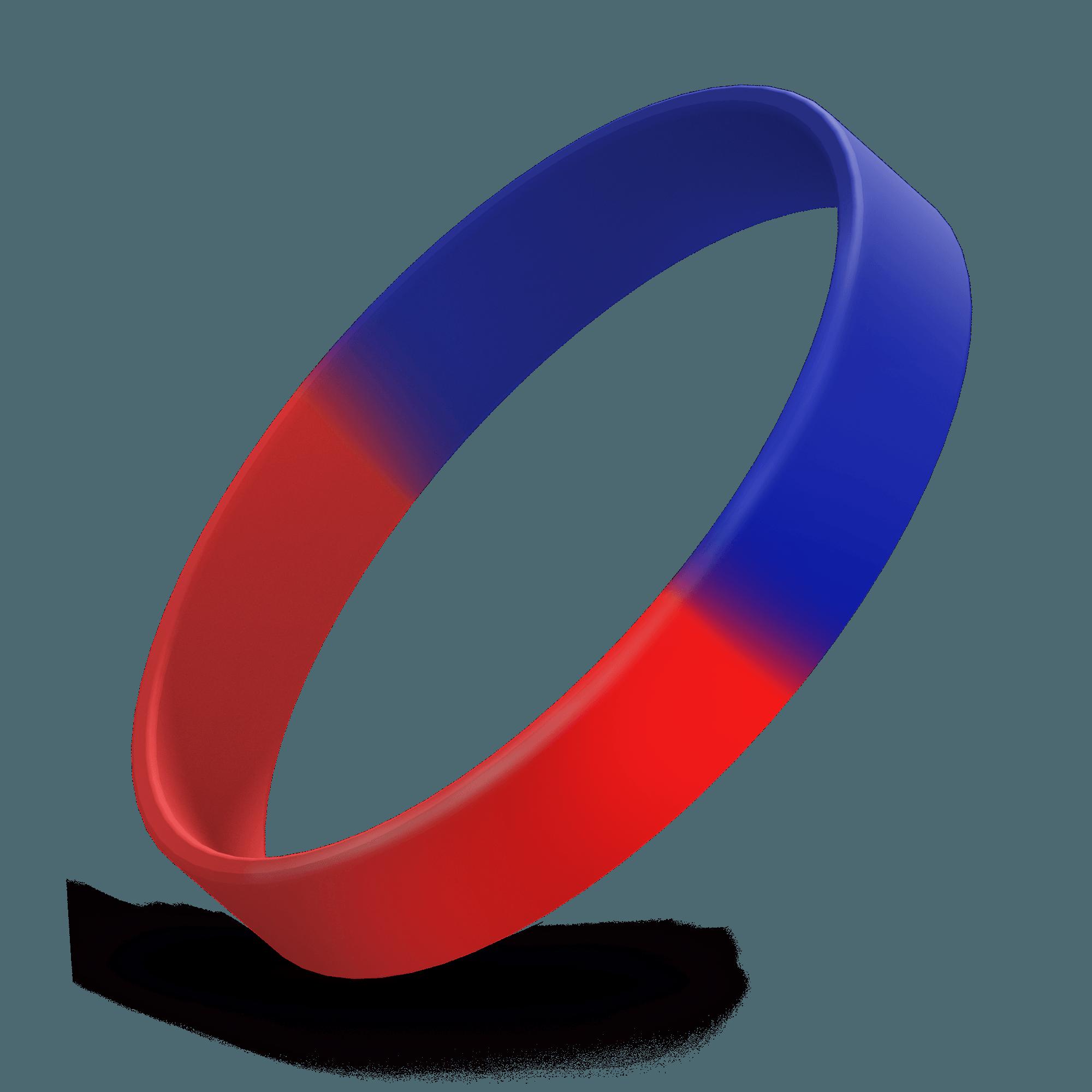 Debossed 1/2 inch (Red / Reflex Blue Segmented)