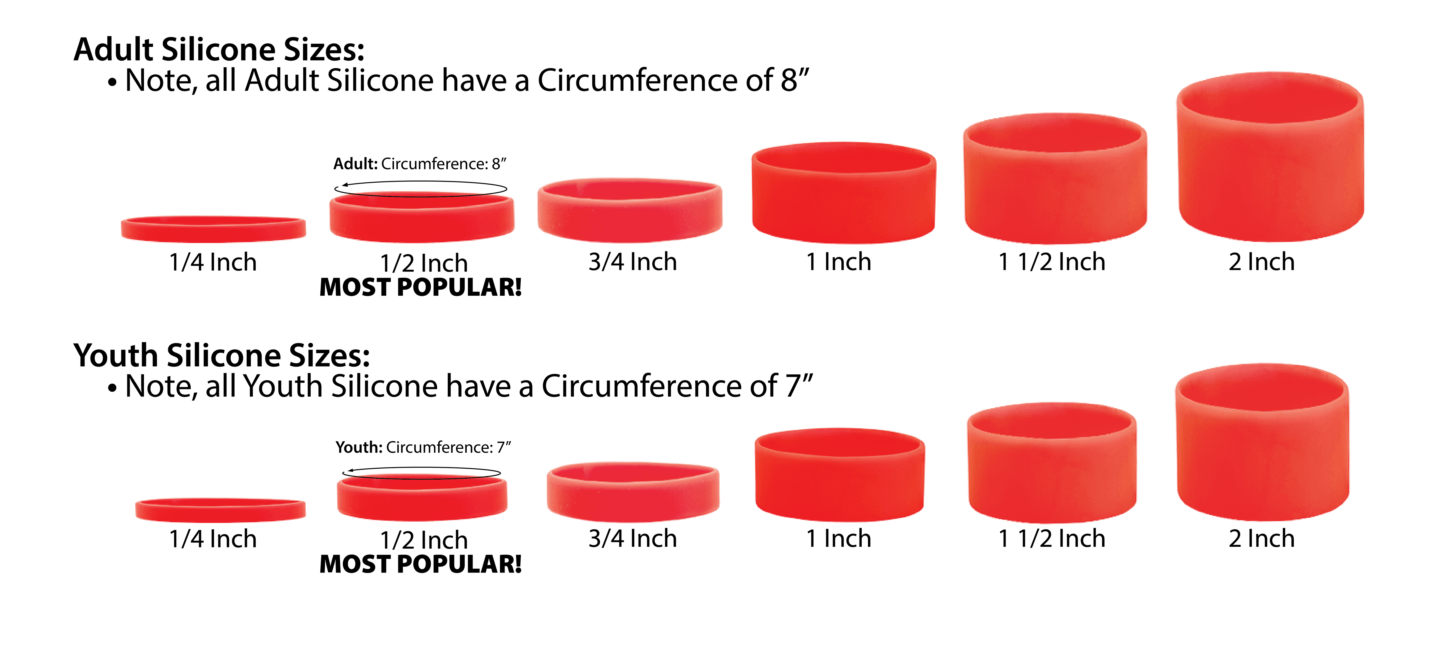 Silicone wristbands Sizing Chart