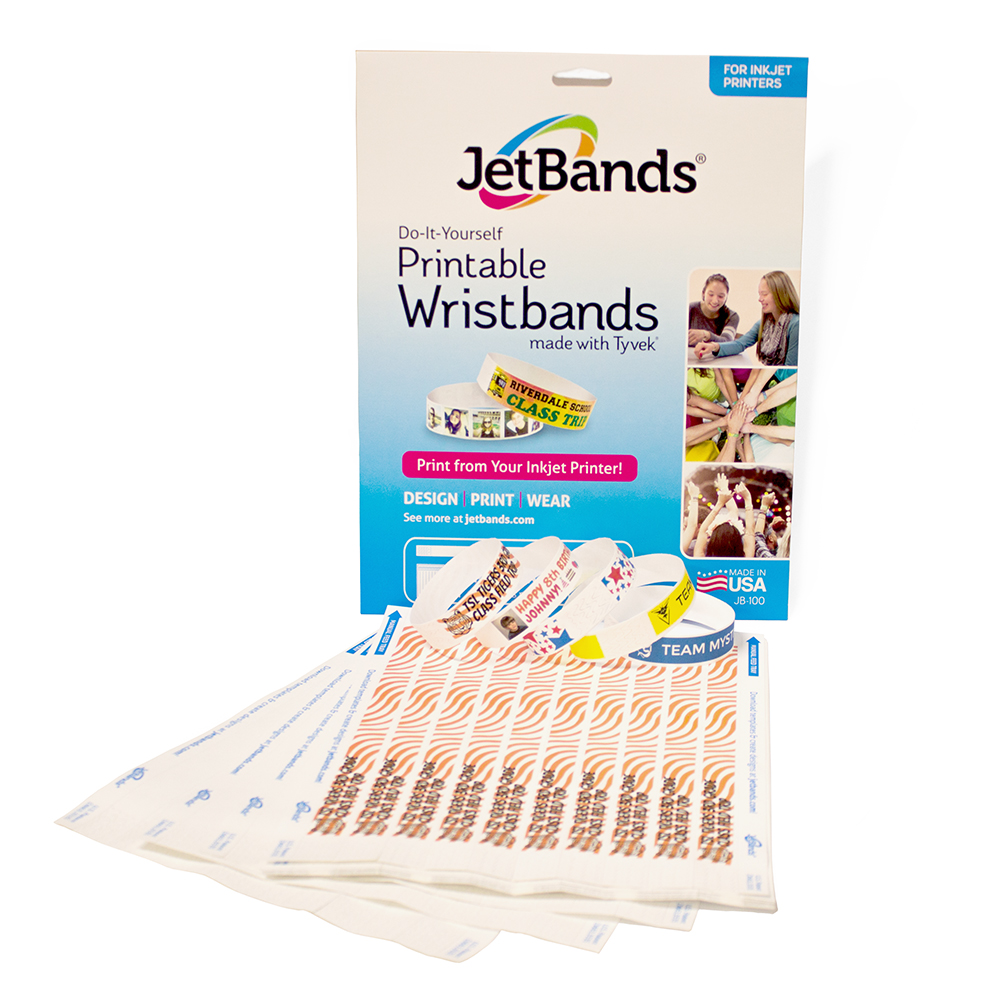 graphic regarding Printable Printers named Jetbands Do It Oneself Inkjet Printable Tyvek Wristbands