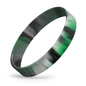 White / Black / Green Swirl