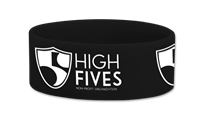 "1"" Black HighFives Silicone Wristband thumbnail"